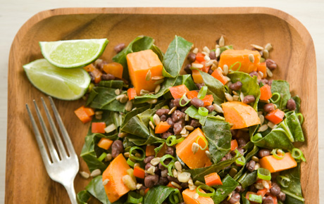 Sweet Potatoes with Collards and Aduki Beans