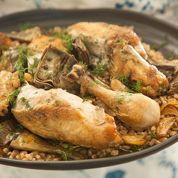 Chicken and Artichokes with Farro