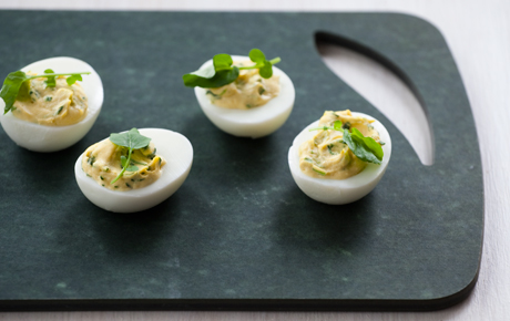 Watercress and Green Onion Deviled Eggs