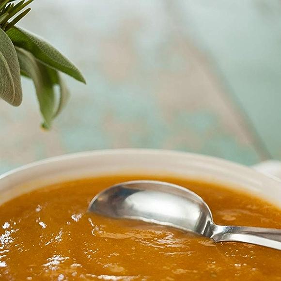 Creamy sweet potato soup in a bowl.