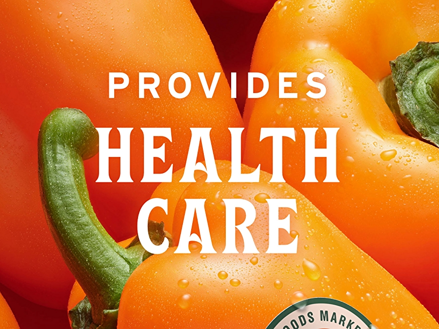 orange bell peppers with sourced for good seal and white text that reads provides health care