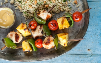 Pineapple Chicken Kabobs with Quinoa