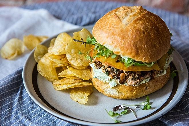 Lemon and Dill Salmon Burgers with Avocado Tzatziki