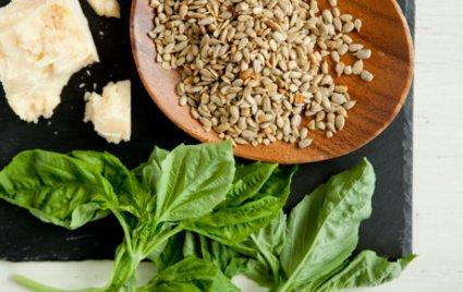 Basic pesto ingredients