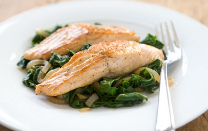 Salmon with Swiss Chard