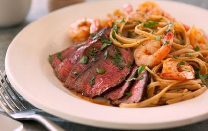 Creamy Cajun Shrimp and Steak Linguine