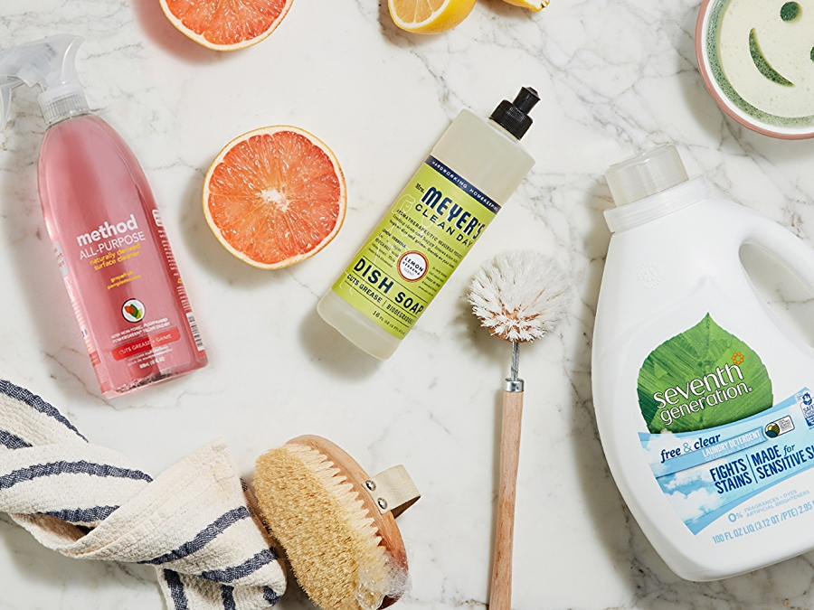 Household cleaning products: Seventh Generation laundry detergent, Method All-Purpose Cleaner and Mrs Meyer's Clean Day Dish Soap
