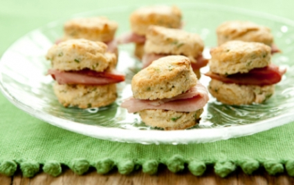 Ham and Buttermilk-Chive Biscuits