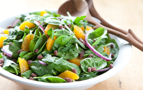 Spinach Salad with Aduki Beans and Clemetine Vinaigrette