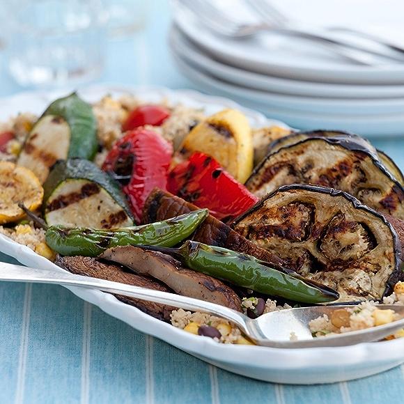 grilled summer vegetables: eggplant, summer squash, portobello mushrooms, jalapeno peppers