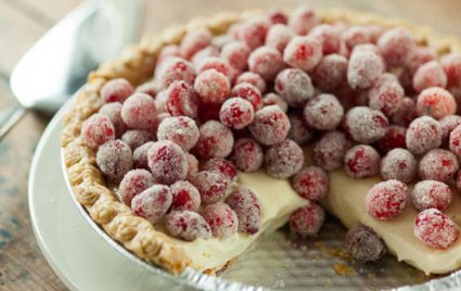 Sugared Cranberry and Lemon Curd Pie