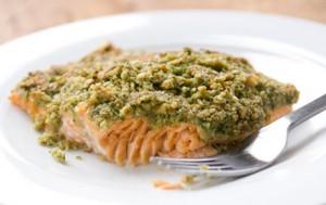 Salmon with Cilantro Pumpkin Seed Pesto