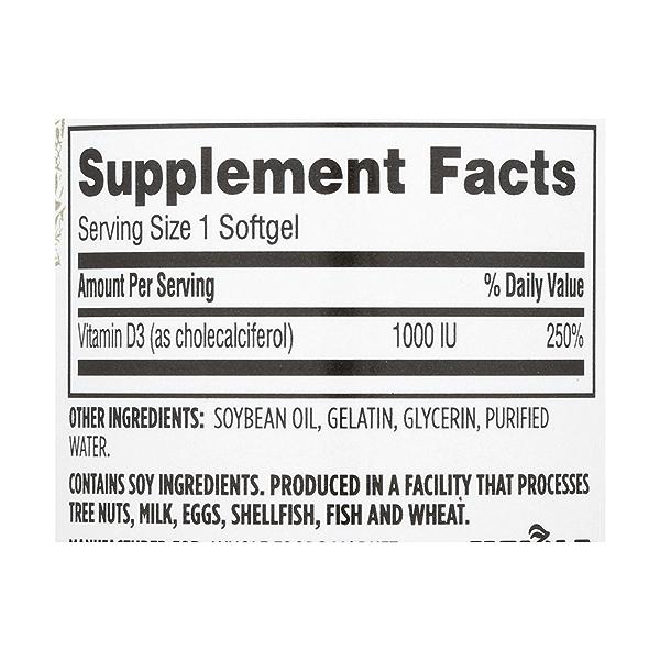 Vitamin D3 Softgels, 1000 IU, 250 count 3