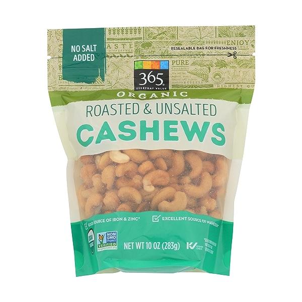 Organic Roasted & Unsalted Cashews, 10 ounce 1