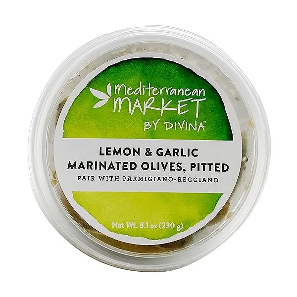 Lemon & Garlic Marinated Pitted Olives, 8.1 ounce 2