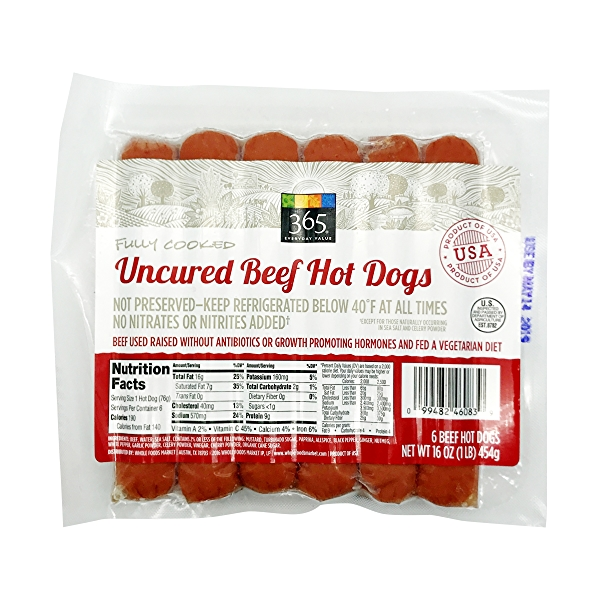 Uncured Beef Hot Dogs 1