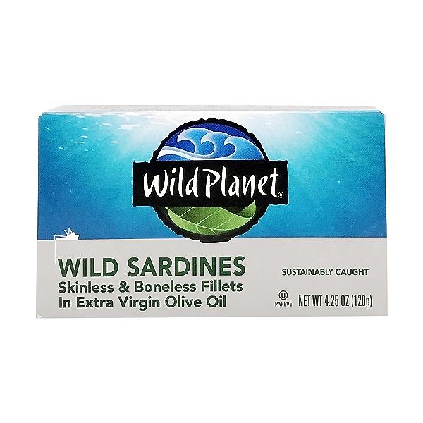 Skinless Boneless Wild Sardine Fillets In Olive Oil, 4.25 oz 1