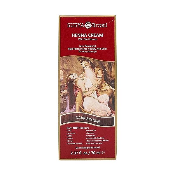 Dark Brown Henna Cream, 2.37 fl oz 1