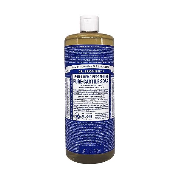 Organic Castile Peppermint Liquid Soap, 32 fl oz 1
