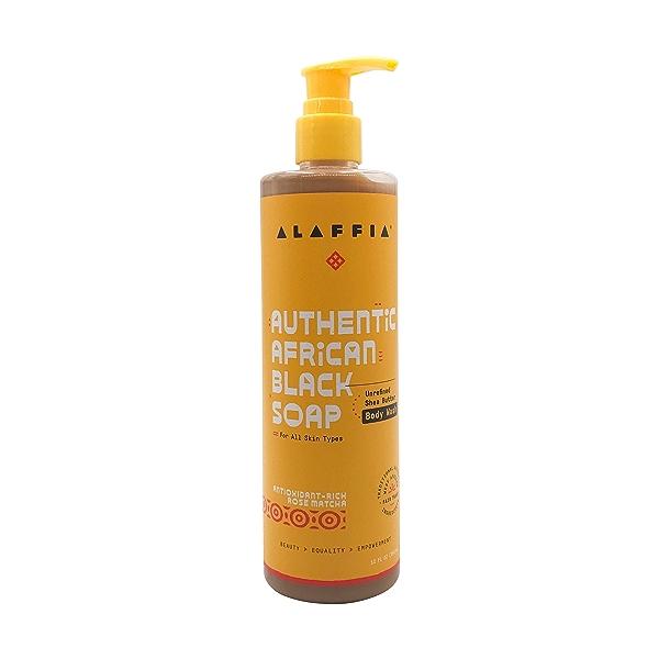 Authentic African Black Soap Body Wash Rose Matcha, 12 fl oz 1