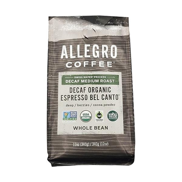 Decaf Organic Espresso Bel Canto Whole Bean Coffee, 12 oz 1