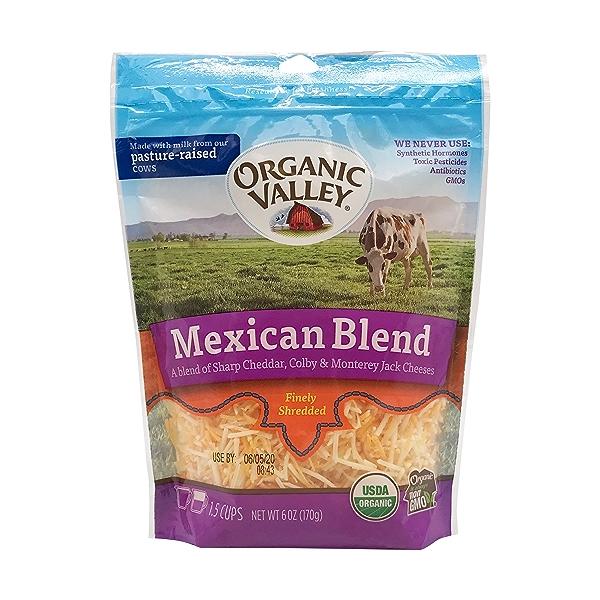 Organic Finely Shreeded Shredded Mexican Blend Cheese, 6 oz 1