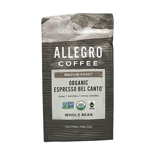Organic Espresso Bel Canto Whole Bean Coffee, 12 oz 1