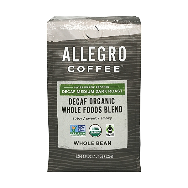 Organic Decaf Whole Foods Blend Whole Bean Coffee, 12 oz 1