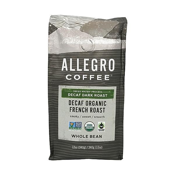 Organic Decaf French Roast Whole Bean Coffee, 12 oz 1