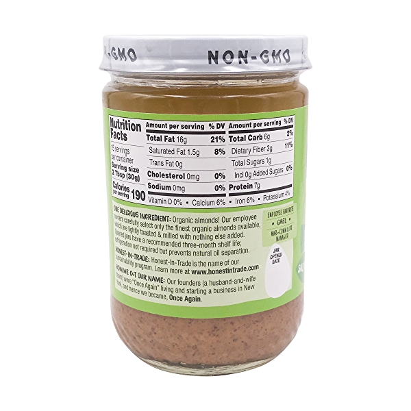 Crunchy Lightly Toasted Unsweetened & Salt Free Almond Butter, 16 oz 3