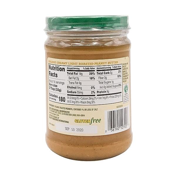 Organic Creamy Light Roasted Peanut Butter, 16 oz 2