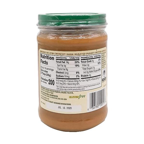 Organic Dark Roasted Crunchy Peanut Butter Spread, 16 oz 2