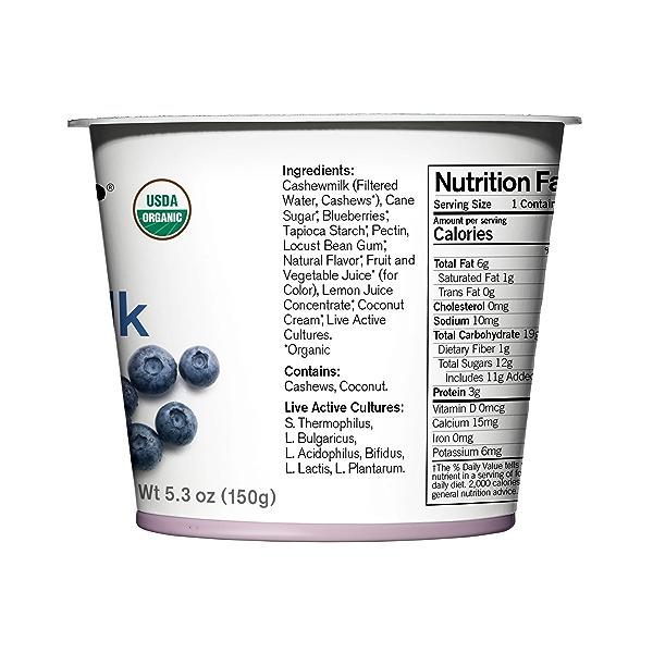 Organic Dairy-Free Blueberry Cashewmilk Yogurt, 5.3 oz 2
