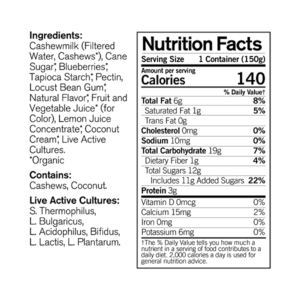 Organic Dairy-Free Blueberry Cashewmilk Yogurt, 5.3 oz 4