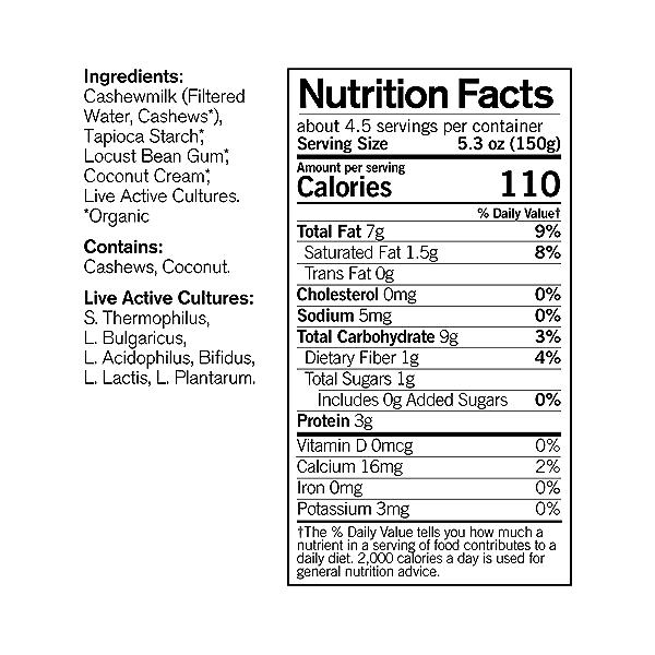 Organic Dairy-free Unsweetened Plain Cashewmilk Yogurt, 24 oz 4
