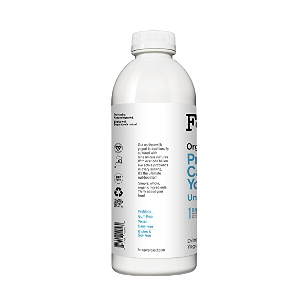 Organic Dairy-Free Unsweetened Plain Probiotic Drinkable Cashewmilk Yogurt, 28 fl oz 3