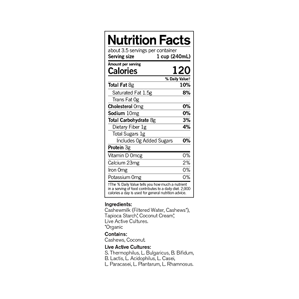 Organic Dairy-Free Unsweetened Plain Probiotic Drinkable Cashewmilk Yogurt, 28 fl oz 4