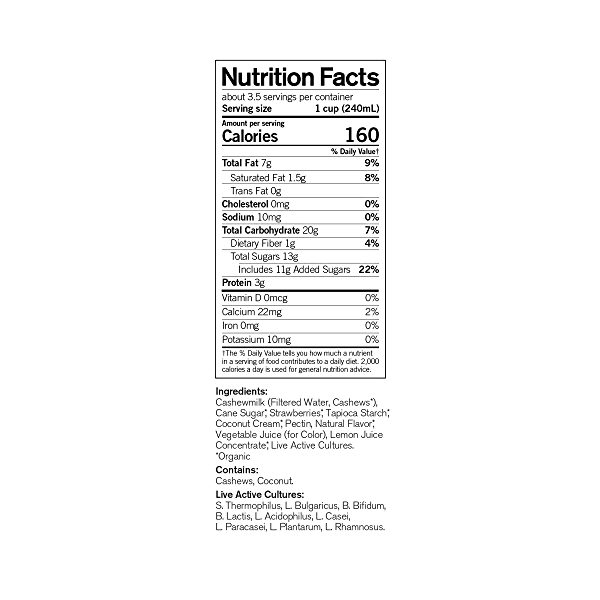 Organic Dairy-Free Strawberry Probiotic Drinkable Cashewmilk Yogurt, 28 fl oz 4