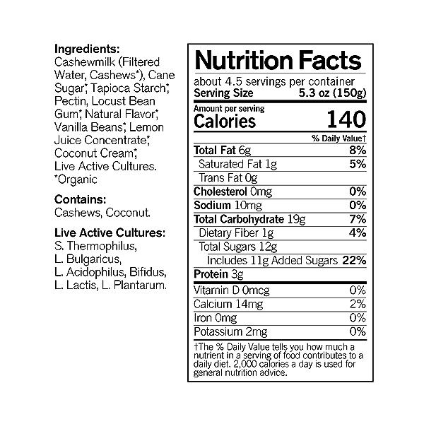 Organic Dairy-Free Vanilla Bean Cashewmilk Yogurt, 24 oz 4