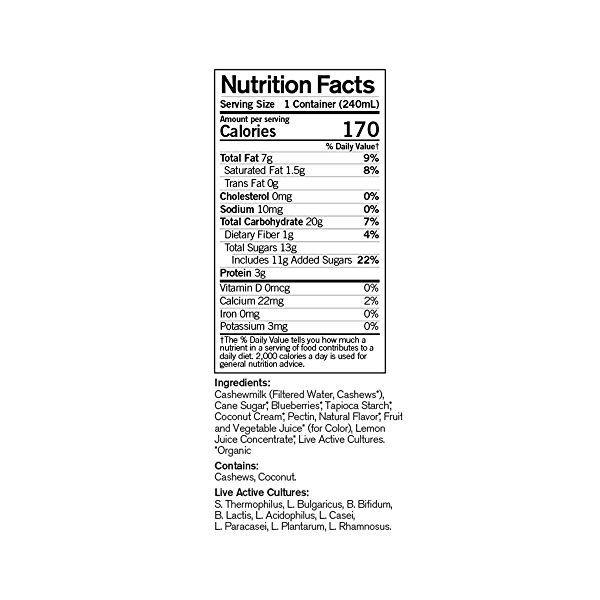 Organic Dairy-Free Blueberry Probiotic Drinkable Cashewmilk Yogurt, 8 fl oz 4