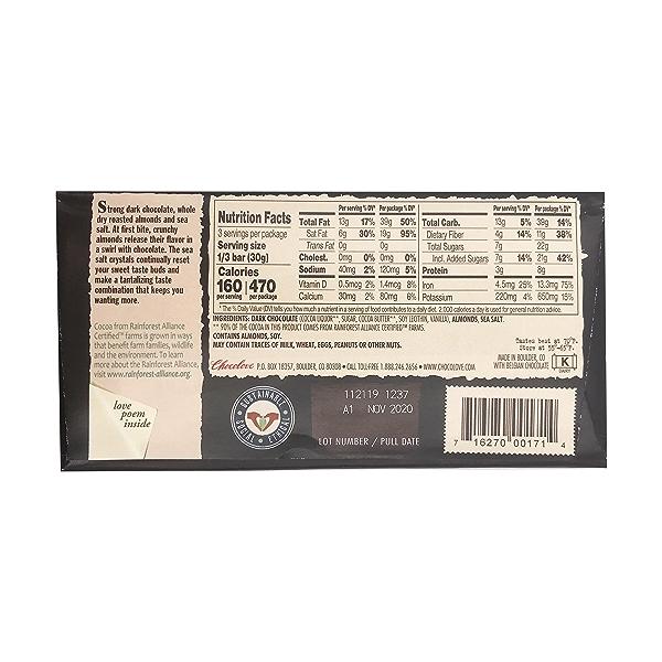 Almonds & Sea Salt 70% Dark Chocolate Bar, 3.2 oz 2