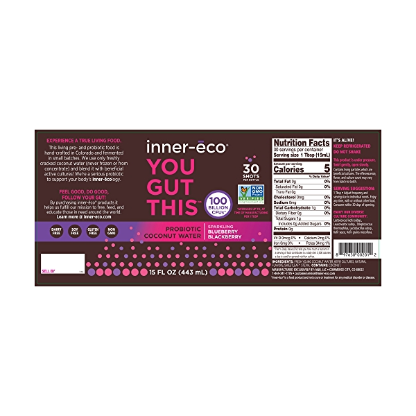 Berry Flavor Fresh Coconut Water Probiotic, 15 fl oz 2