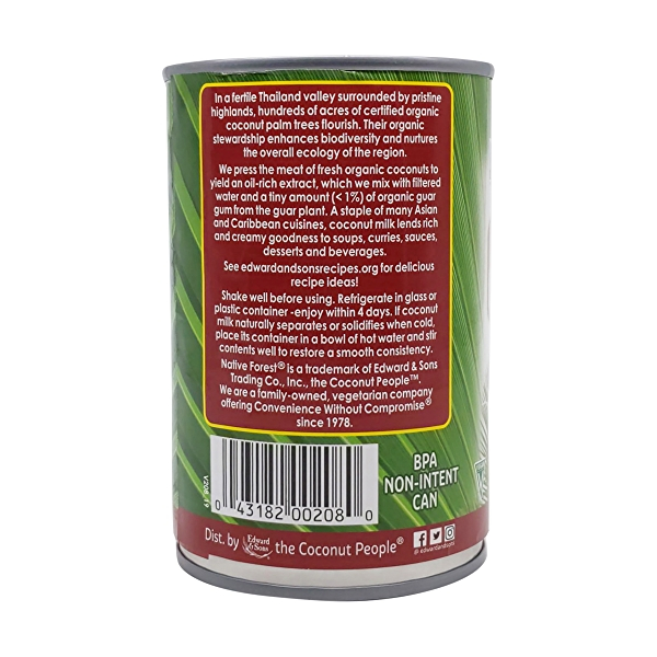 Unsweetened Classic Organic Coconut Milk, 13.5 fl oz 3