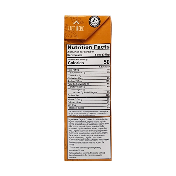Chicken Mushroom Bone Broth, 16.9 oz 2