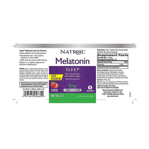 Melatonin Sleep 5mg, 90 tablets 2