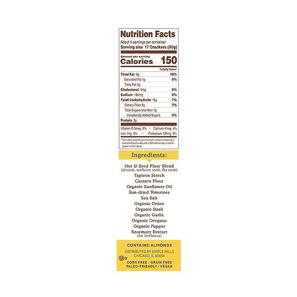 Sundried Tomato & Basil Almond Flour Crackers, 4.25 oz 2