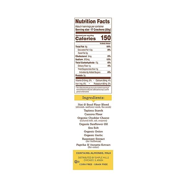 Farmhouse Cheddar Almond Flour Crackers, 4.25 oz 2