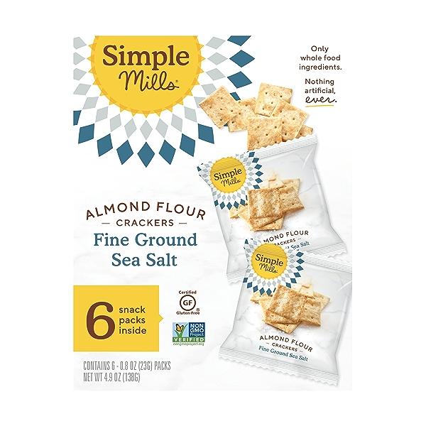 Fine Ground Sea Salt Almond Flour Crackers Snack Pack 6pk, 4.9 oz 1