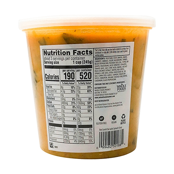 Red Lentil Dal With Spinach Soup, 24 oz 3