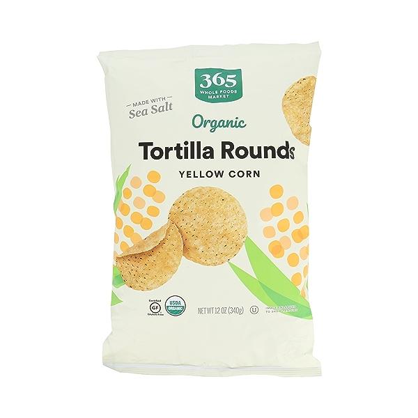 Organic Yellow Corn Tortilla Rounds Salted, 12 oz 1